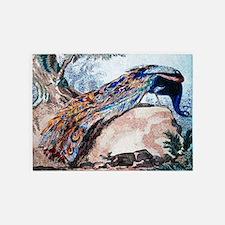 Peacock on Rock 5'x7'Area Rug