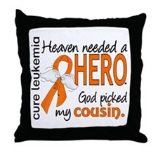 Leukemia Heaven Needed Hero Throw Pillow