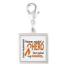 Leukemia Heaven Needed Hero Silver Square Charm