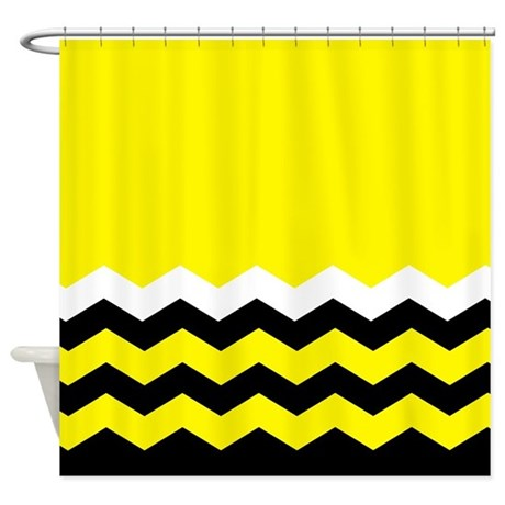 chevrons in yellow and black shower curtain by curtainsforshowers. Black Bedroom Furniture Sets. Home Design Ideas