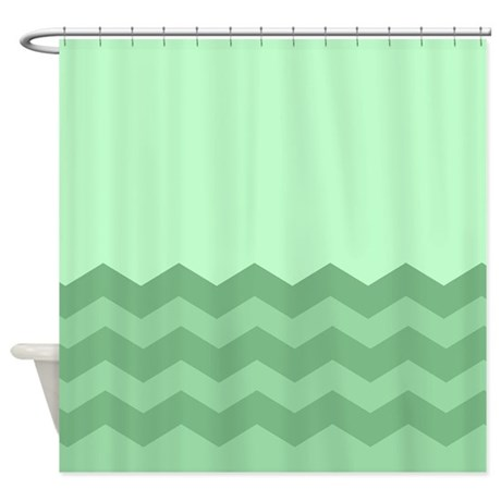 Chevrons In Green Shower Curtain By CurtainsForShowers