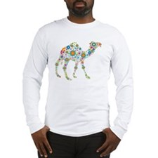 Colorful Retro Flowers Camel Long Sleeve T-Shirt