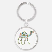 Colorful Retro Flowers Camel Round Keychain