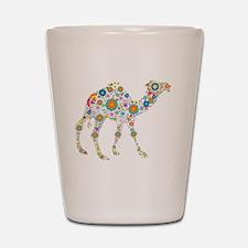 Colorful Retro Flowers Camel Shot Glass
