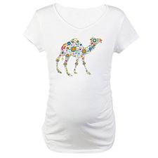 Colorful Retro Flowers Camel Shirt
