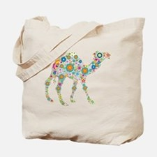 Colorful Retro Flowers Camel Tote Bag