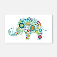 Colorful Retro Flowers Elepha Rectangle Car Magnet