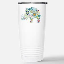 Colorful Retro Flowers  Stainless Steel Travel Mug