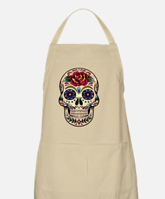 Colorful Retro Floral Skull With Red Rose Apron