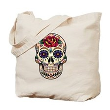 Colorful Retro Floral Skull With Red Rose Tote Bag