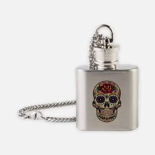 Colorful Retro Floral Skull With Re Flask Necklace