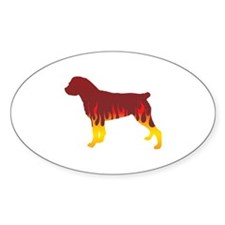 Rottweiler Flames Oval Decal