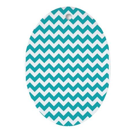 White And Turquoise Chevron Geometri Oval Ornament