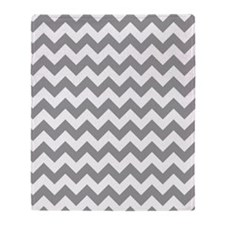 White And Gray Geometric Zigzag Chev Throw Blanket