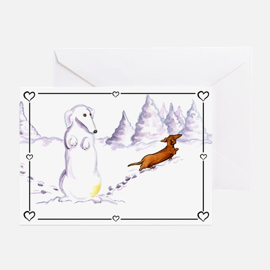 Be Mine Snow Dachsie Greeting Cards (Pk of 10)