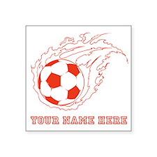 Custom Red Flaming Soccer Ball Sticker