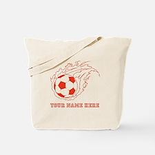 Custom Red Flaming Soccer Ball Tote Bag