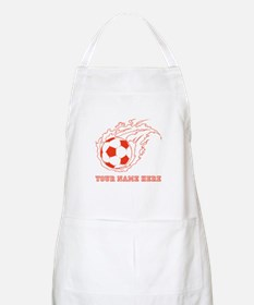 Custom Red Flaming Soccer Ball Apron