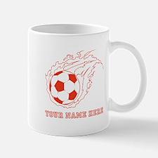 Custom Red Flaming Soccer Ball Mugs