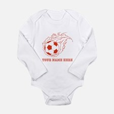 Custom Red Flaming Soccer Ball Body Suit