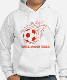 Custom Red Flaming Soccer Ball Hoodie