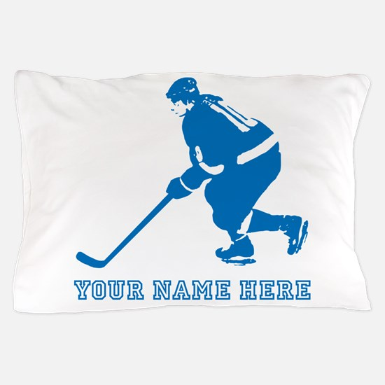 Custom Blue Hockey Player Pillow Case