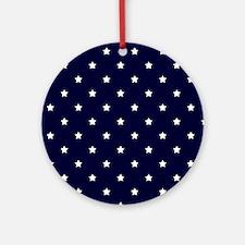 White Stars on Navy Blue Ornament (Round)