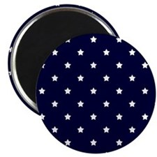 White Stars on Navy Blue Magnets