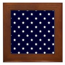 White Stars on Navy Blue Framed Tile