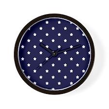 White Stars on Navy Blue Wall Clock