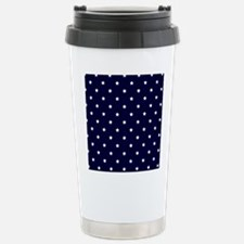 White Stars on Navy Blue Travel Mug