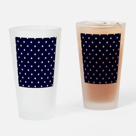 White Stars on Navy Blue Drinking Glass