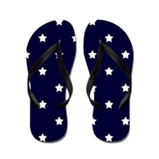 White Stars on Navy Blue Flip Flops