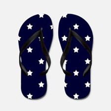 White Stars on Navy Blue Flip Flops