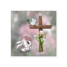 Easter Bunny Cross Sticker