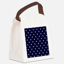 White Stars on Navy Blue Canvas Lunch Bag