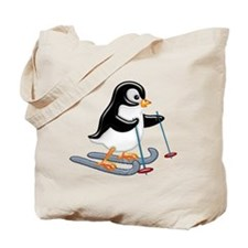 Penguin on Skis Tote Bag