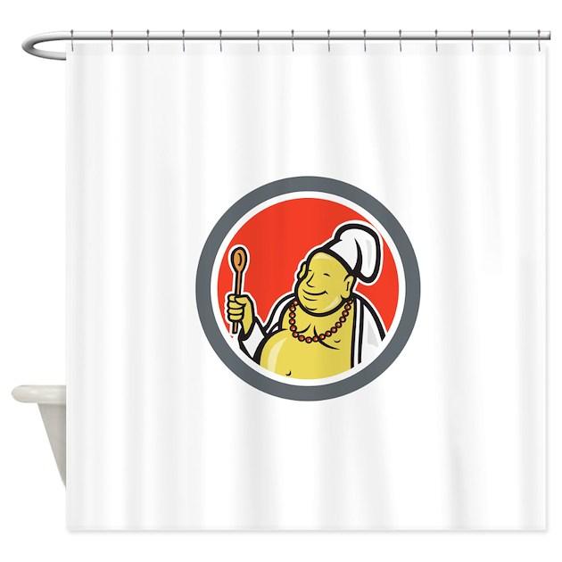 Frameless Modern Cartoon Chefs Canvas Prints Restaurant: Fat Buddha Chef Cook Cartoon Shower Curtain By RetroSportArts