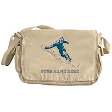 Custom Blue Snowboarder Messenger Bag