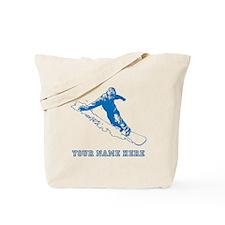 Custom Blue Snowboarder Tote Bag