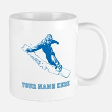 Custom Blue Snowboarder Mugs