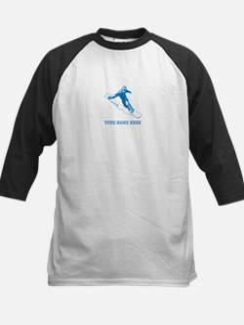 Custom Blue Snowboarder Baseball Jersey