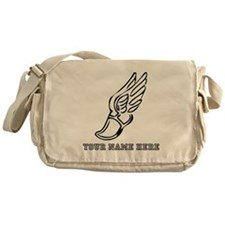 Custom Black Running Shoe With Wings Messenger Bag