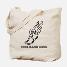 Custom Black Running Shoe With Wings Tote Bag