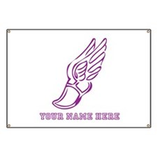Custom Purple Running Shoe With Wings Banner