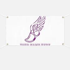 Custom Purple Running Shoe With Wings Banner