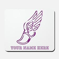 Custom Purple Running Shoe With Wings Mousepad