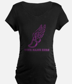 Custom Purple Running Shoe With Wings Maternity T-