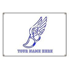 Custom Blue Running Shoe With Wings Banner