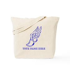 Custom Blue Running Shoe With Wings Tote Bag